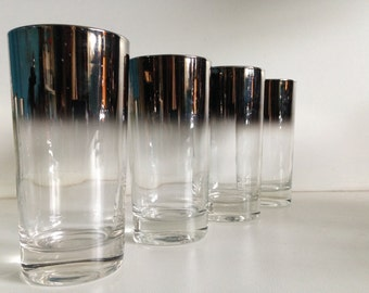 Silver Ombre Drinking Glasses Set of 4