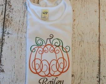 Pumpkin Embroidered Personalized Shirt or Bodysuit
