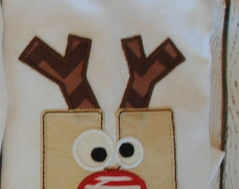 Reindeer Initial Embroidered Personalized Shirt or Bodysuit