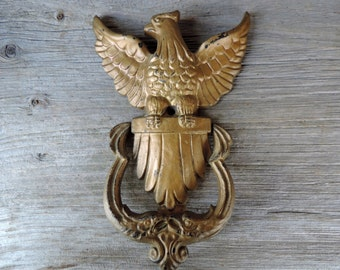 Vintage Door Knocker Eagle American Cast Iron painted Gold Shield Patriotic Americana Symbol Home Improvement