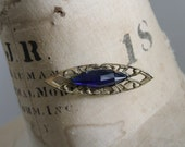 Antique Victorian Faceted Blue Glass Sash Pin Brooch
