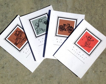HAPPY BIRTHDAY SET blank greeting card set of 4 basketball skier bicycle couch potato