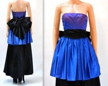 Vintage 80s Prom Dress Size Small Blue and Black// Vintage 80s Evening Gown Party Dress Size XS Small by Gunne Sax