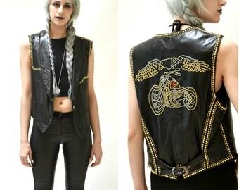 Vintage Black Leather Motorcycle Vest by North Beach Michael Hoban Studded Gold Metallic// Vintage Leather Biker Vest Black