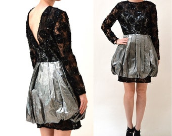 80s 90s Vintage Metallic Prom Party Dress Size Small Medium Silver and Black Lace Party Dress// 90s Black Sequin Lace Dress By Lillie Rubin