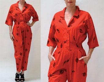 Vintage Diane Von Furstenberg Jumpsuit Size Small Medium Red Parakeet Bird Print // 80s Vintage Red Jumpsuit Pantsuit size Small  By DVF
