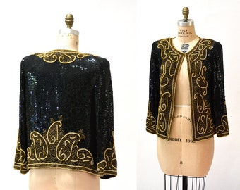 Vintage Black Sequin Jacket Size Medium//  90s Black and Gold Beaded Metallic Jacket size Medium Silk