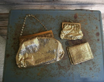 Vintage Gold Handbag with Wallet & Coin Purse