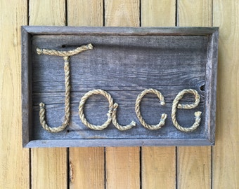 Rope Name sign   MADE TO ORDER. 4 letters