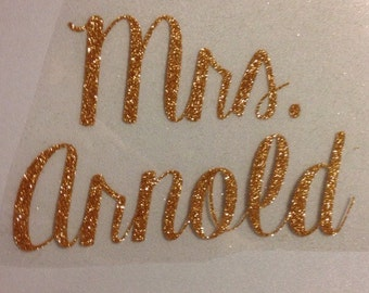 Personalized Mrs. Iron on Decal for the new Bride!
