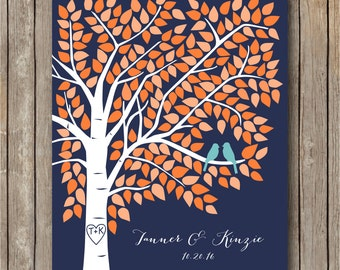 Fall Wedding Guest Book Alternative, Wedding Guestbook Tree, Navy Wedding, Guest Book Alternative, Unique Guestbook Poster to 220 Signatures