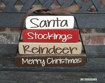 "Christmas ""MINI"" stacker-  Santa Stockings Reindeer Merry Christmas"