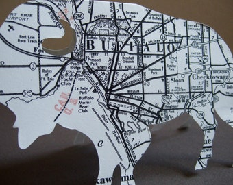 Buffalo New York Map Note Card--Buffalo NY Vintage Map--Buffalo Harbor--Lake Erie--Buffalo Suburbs--Gift for Buffalonian