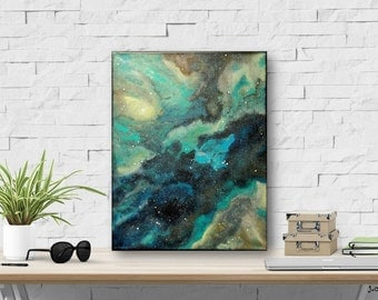 "11x14"" Galaxy Painting, Original Abstract Art, Contemporary Art Painting, Star painting, Galaxy Art, cerulean blue, green, aqua,""Nebula"""