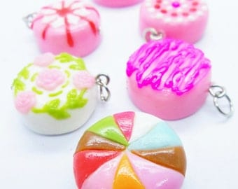 Miniature Polymer Clay Foods Supplies for Beaded Jewelry Charm 6 pieces