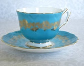 Vintage Turquoise Aynsley Tea Cup Set  /  Turquoise Blue & Gold Aynsley Teacup and Saucer  /  Wedding or Mom Gift Ideas  SwirlingOrange11