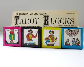 Vintage Tarot Card Game by S.R. Kaplan, 70s Tarot Card Blocks Game, Fortune Teller Divination, Fortune Telling Set, Vintage Halloween
