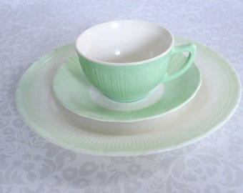 Macbeth Evans Mint Green Tea Cup Trio  /  Vintage Pyrex Corning Mint Green Teacup and Saucer Trio  /   Glass Teacup Set  SwirlingOrange11