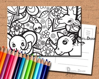 instant download coloring postcard page jungle animals color your own fun postcards doodle art