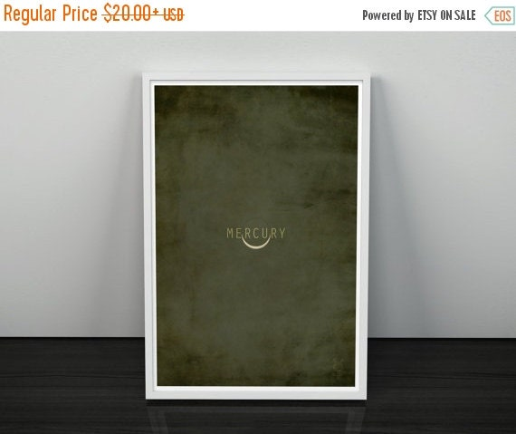 GEEKLOVE SALE Mercury // Vintage Inspired, Minimalist Planetary Science Print // Grey and Green Textured or Clran Print with Planet Eclipse