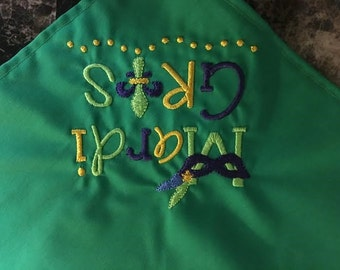 Mardi Gras Babe Dog Bandana with Embroidered Fleur de Lis and Mask