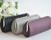 Dupioni SILK Clutch - SMALL Wedding clutch- PETITE cocktail clutch - Black clutch, Gray clutch, Eggplant clutch