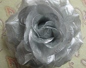 Flamenco  SILVER Rose Hair Flower clip