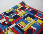 Dynamic retro abstract print cotton canvas blue red yellow upholstery vintage fabric 2 plus yards