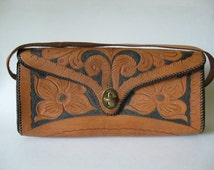 Interesting slim roll bag tooled leather vintage purse Mexico floral detail black and tan VIC