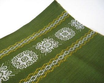 Small 70s green linen tablecloth fabric mid century European white embroidery stripe material remnant