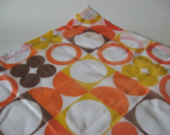 Semi sheer atomic mod panton print style vintage pinch pleat curtain panel 70s circles dots brown orange yellow on white
