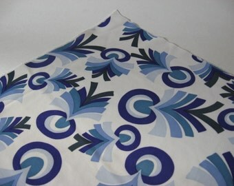 Cool vintage nylon knit purply blues mod leafy print on white fabric material