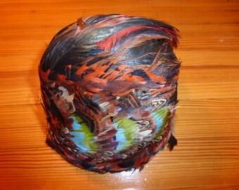 Vintage Feather Hat EVA MAE MODES Pheasant Brown Oranges Green Blue Chapeaux Cap