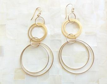 Matte Gold Multi-Circle Drop Dangle Earrings (E1252)