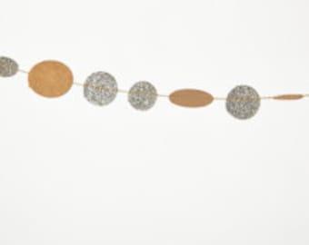 Silver Glitter Dot Paper Garland - 9 feet