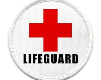 LIFEGUARD in Black Cross Red Pool Safety Alert Sew-on Patch (Choose Size and Rim Color)