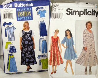 Two ladies plus size dress patterns uncut