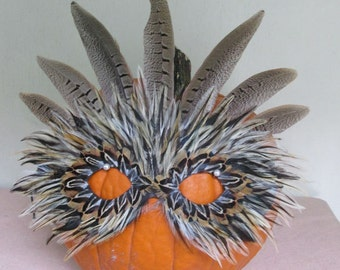 Tiger Crown Natural Feather Mask