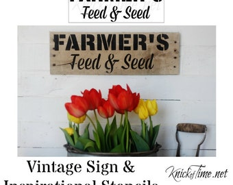Farmhouse Farmers Feed and Seed Stencil - Make your own signs, crates and home decor Vintage Sign Stencil