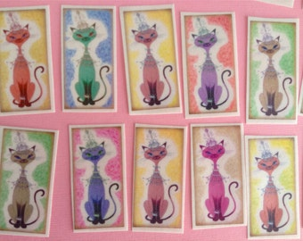 24 Edible Image SWEET BIRTHDAY KITTIES in Rainbow Colors for your iced cookies, cakes, cupcakes, bars and sweets!