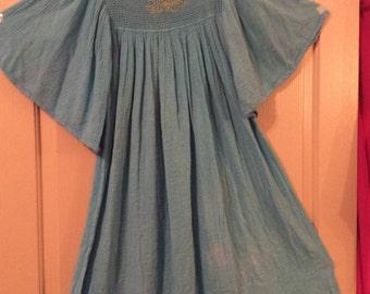 cotton gauze dress crochet top rare Greek designer M.De. Sigoura Gold thread 70s/Full sweep/crinkled/angel sleeves/knee long/OSFA