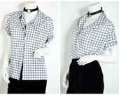 90s 80s Grid Pattern block black and white checkered collared shirt