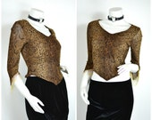 90s Snake print brown triangle bandana hem Bead trim crop top shirt