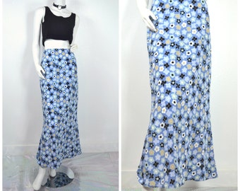 90s Blue Daisy floral light blue maxi flare skirt
