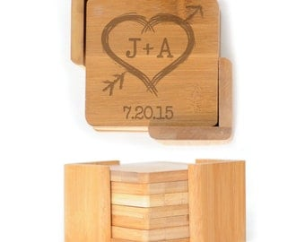 Personalized Wooden Square Coasters - Set of 6 with holder - 2637 Heart with initials and arrow personalized with date