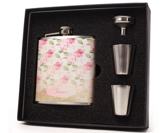 Flask for Women, Faded Floral Design HD03