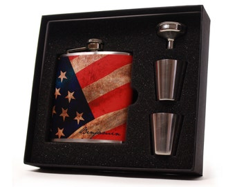 USA American Flag Personalized Flask