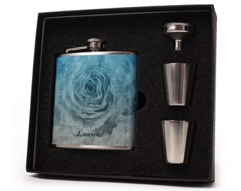 Flask for Women // Abstract rose flask gift set with shot cups, funnel and gift box