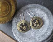 Tin Earrings, Vintage Tin, Asian Tin, Golden Tones, Light Weight