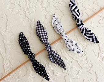 Set of Knotted Bows Black Polka Dots Gingham Chevron Anchor Hair Bow Girl Teen Women Hair Accessory French Barrette Alligator Clip Hair Ties